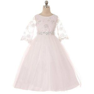 WHITE 3/4 Sleeve Sequin Embroidery Communion Dress